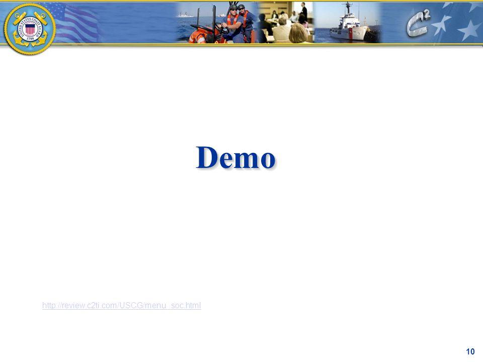 DemoDemo C² Proprietary 10 http://review.c2ti.com/USCG/menu_soc.html