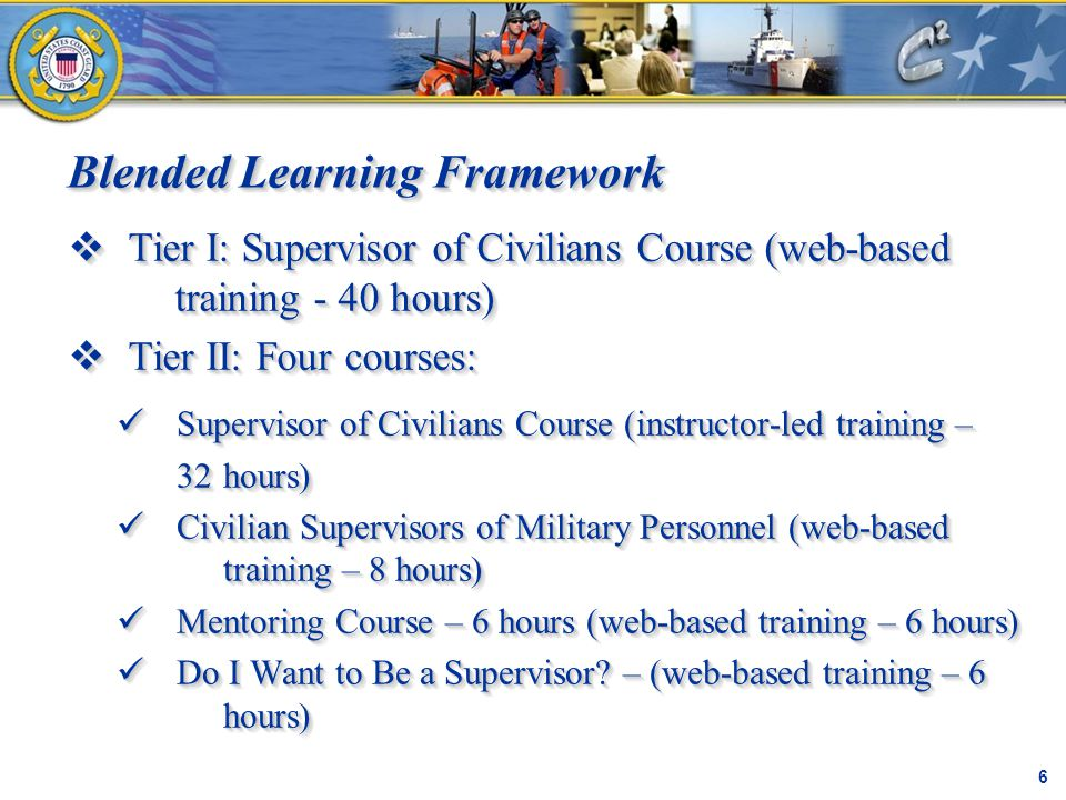 Blended Learning Framework C² Proprietary 6  Tier I: Supervisor of Civilians Course (web-based training - 40 hours)  Tier II: Four courses:  Tier I: Supervisor of Civilians Course (web-based training - 40 hours)  Tier II: Four courses: Supervisor of Civilians Course (instructor-led training – Supervisor of Civilians Course (instructor-led training – 32 hours) Civilian Supervisors of Military Personnel (web-based training – 8 hours) Civilian Supervisors of Military Personnel (web-based training – 8 hours) Mentoring Course – 6 hours (web-based training – 6 hours) Mentoring Course – 6 hours (web-based training – 6 hours) Do I Want to Be a Supervisor.