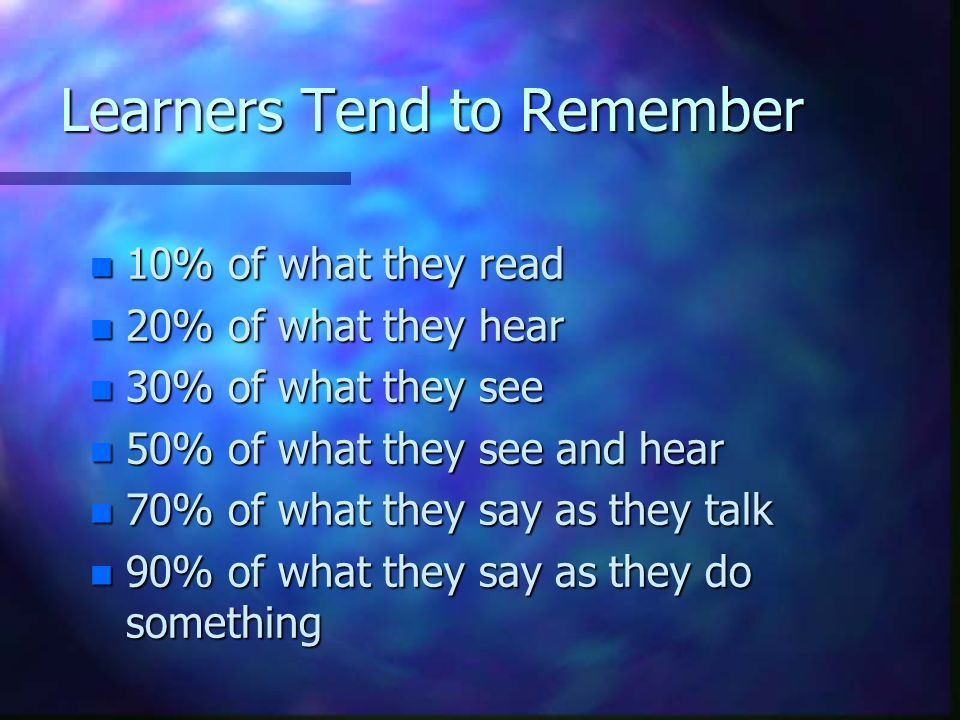 Learners Tend to Remember n 10% of what they read n 20% of what they hear n 30% of what they see n 50% of what they see and hear n 70% of what they sa