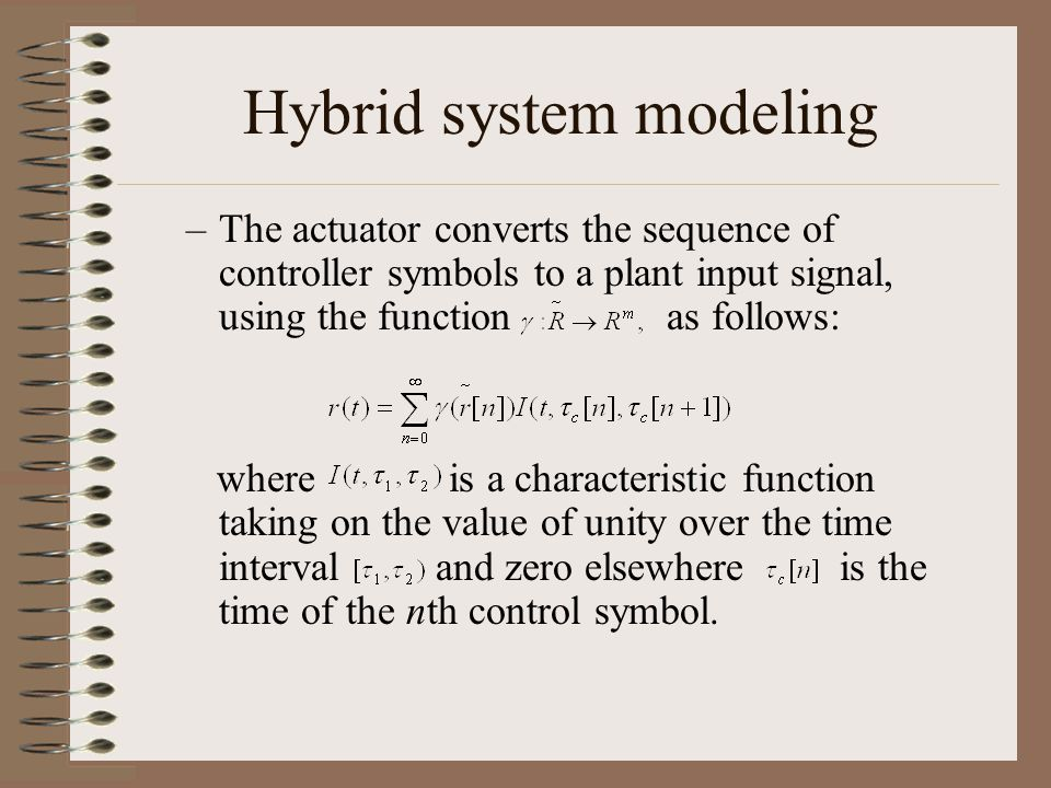 Hybrid system modeling –The actuator converts the sequence of controller symbols to a plant input signal, using the function as follows: where is a ch