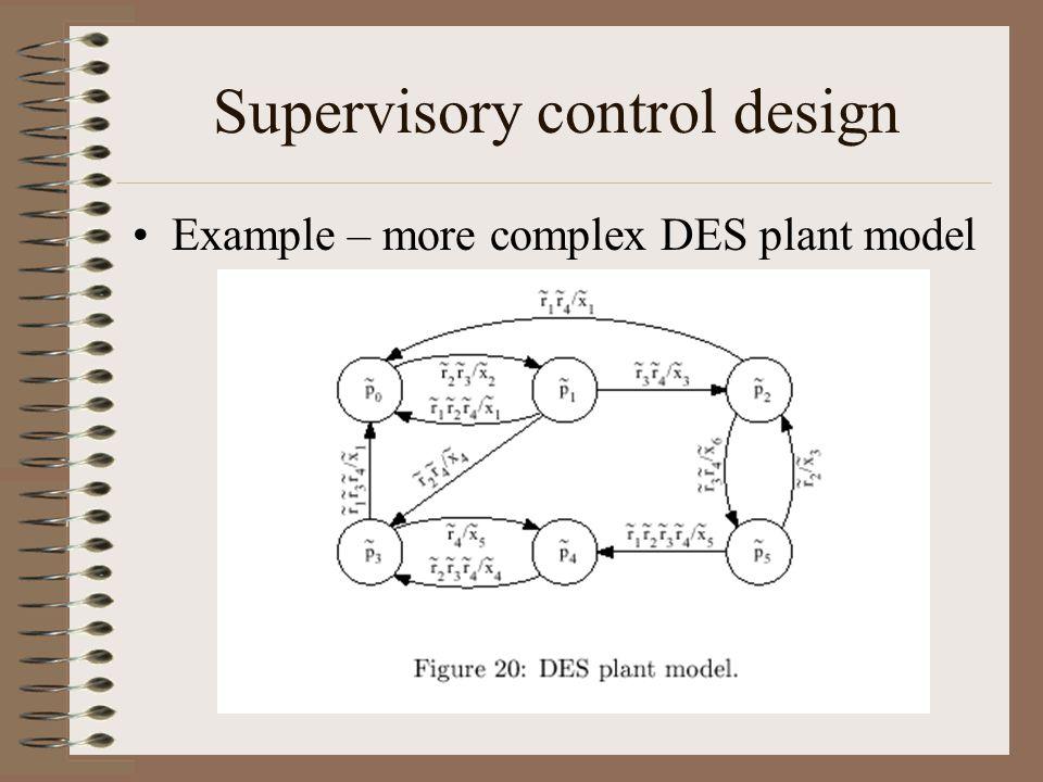 Supervisory control design Example – more complex DES plant model