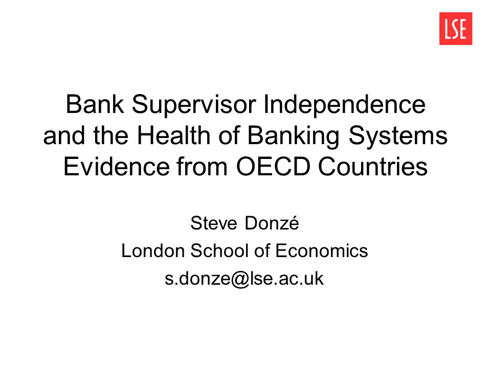 2 Policy Background Just as central bank independence is now fairly ubiquitous, financial supervisor independence has gained momentum, especially in the last decade The need for independence first stressed in the Basel Core Principles for banking supervision (Basel Committee on Banking Supervision 1997) Financial supervisor independence is now a standard policy prescription in the context of IMF- led Financial Sector Assessment Programmes