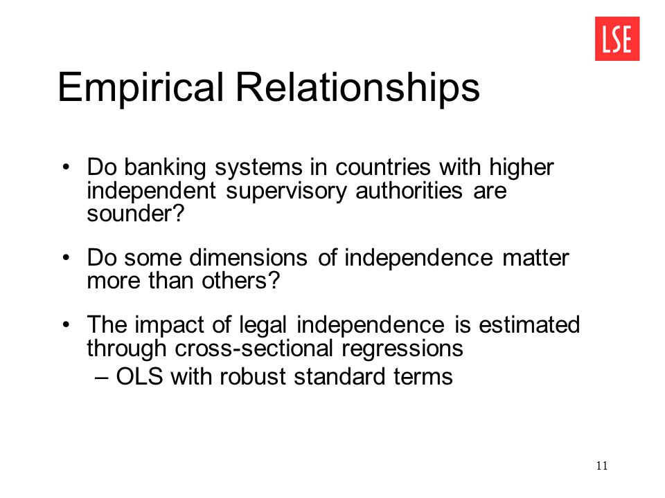 11 Empirical Relationships Do banking systems in countries with higher independent supervisory authorities are sounder.
