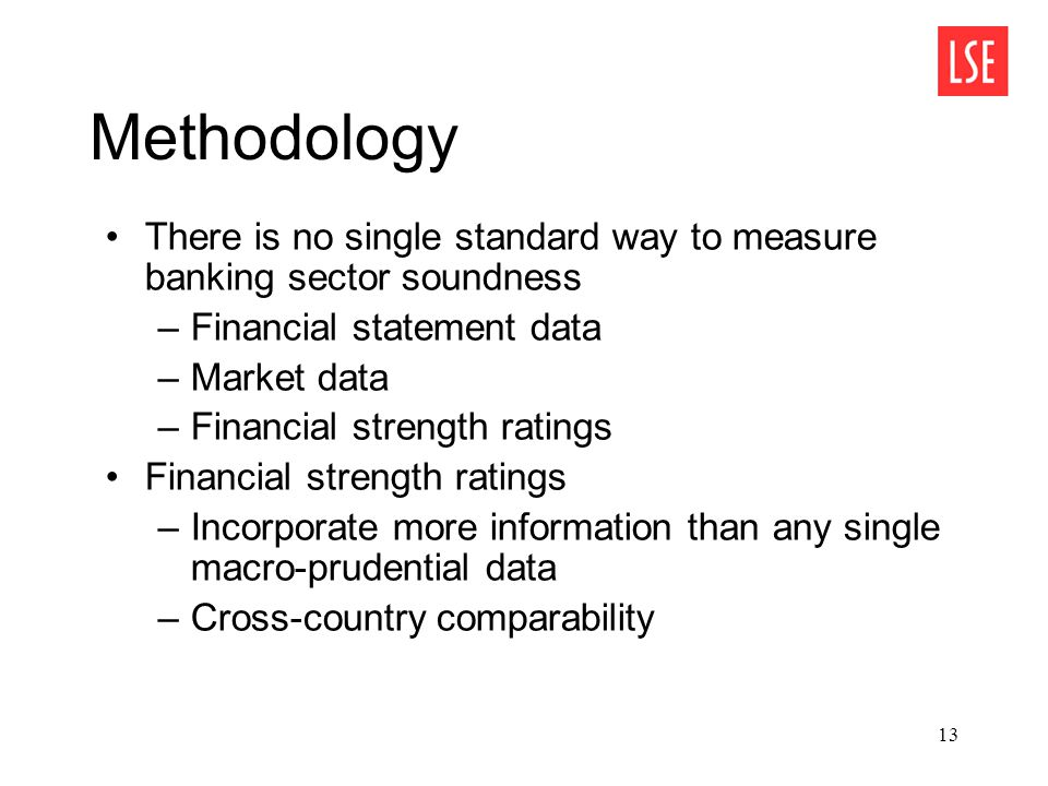 13 Methodology There is no single standard way to measure banking sector soundness –Financial statement data –Market data –Financial strength ratings Financial strength ratings –Incorporate more information than any single macro-prudential data –Cross-country comparability