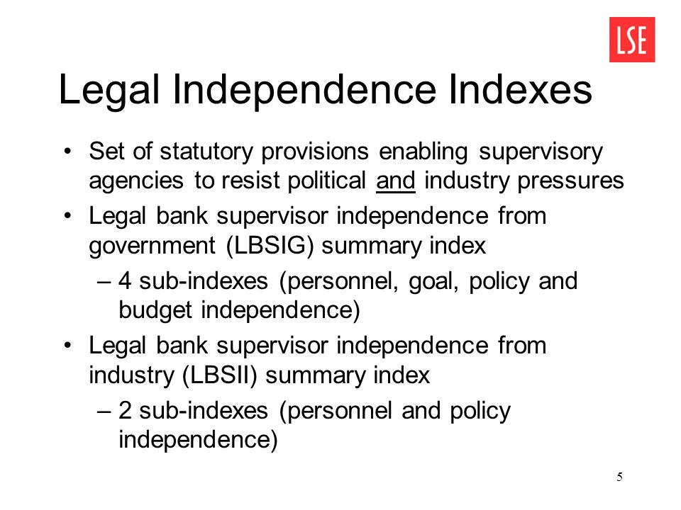 5 Legal Independence Indexes Set of statutory provisions enabling supervisory agencies to resist political and industry pressures Legal bank supervisor independence from government (LBSIG) summary index –4 sub-indexes (personnel, goal, policy and budget independence) Legal bank supervisor independence from industry (LBSII) summary index –2 sub-indexes (personnel and policy independence)