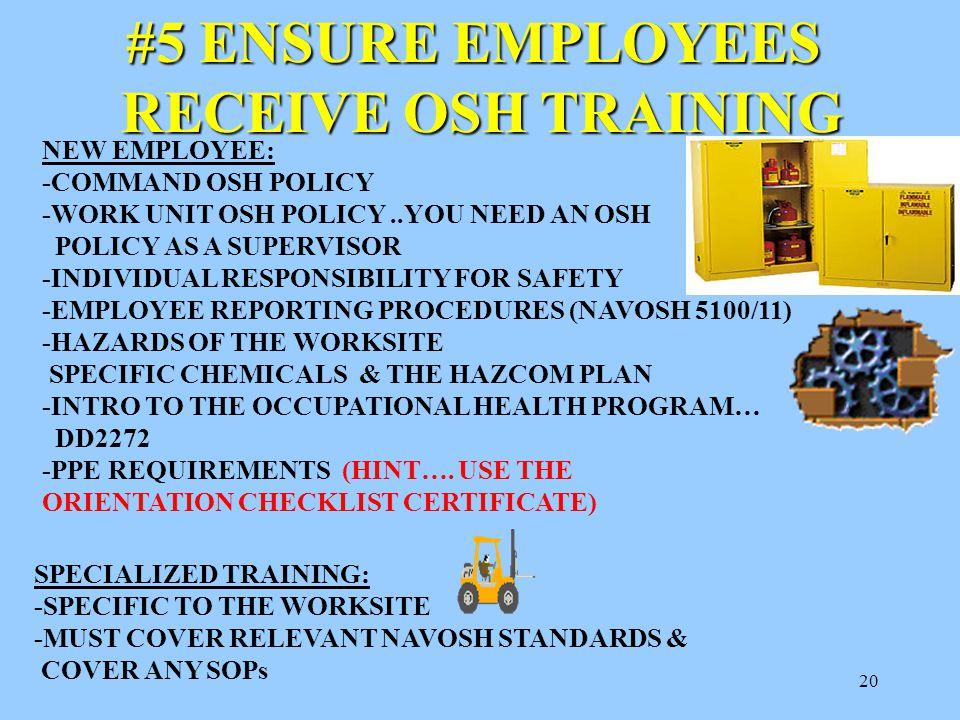 "19 #4 DOCUMENT SUBORDINATES OSH PERFORMANCE OPNAVINST 5100.23F, para. 0207 states, ""Supervisors develop procedures..to measure & recognize superior an"
