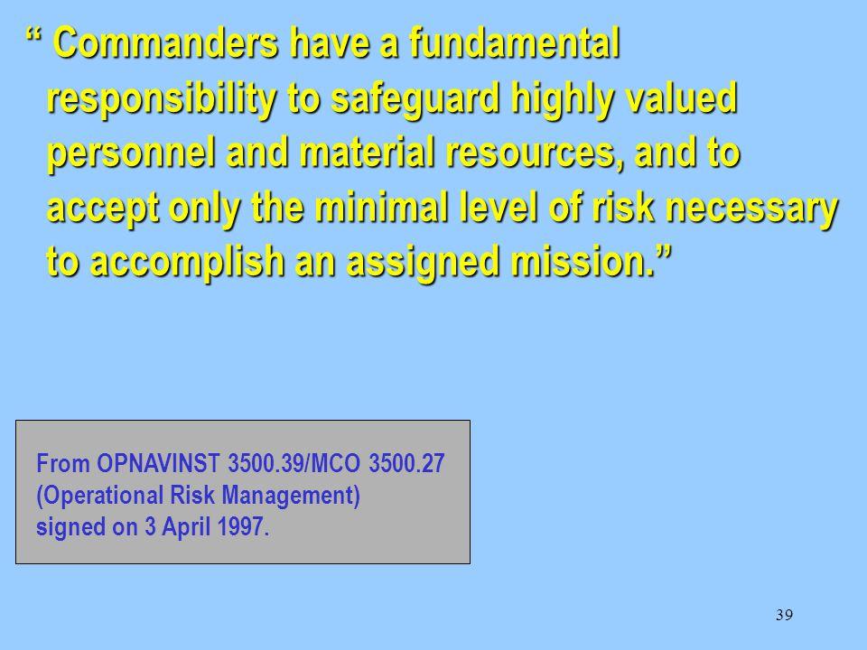 38 OPERATIONAL RISK MANAGEMENT
