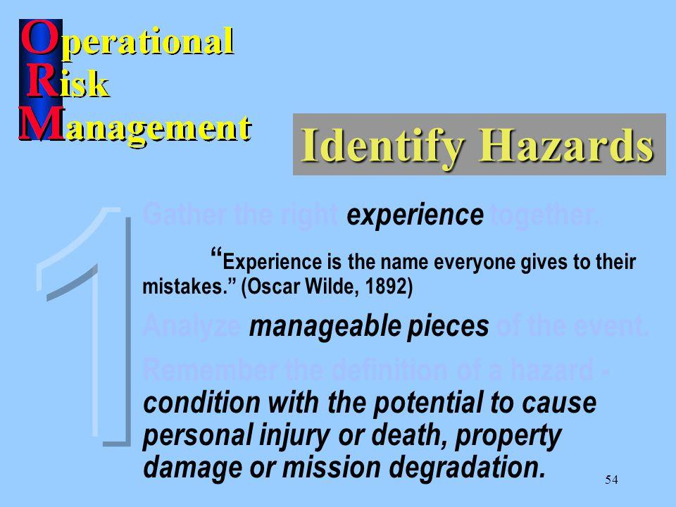 53 Identify Hazards 1. Identify Hazards 2. Assess Hazards 3. Make Risk Decisions 4. Implement Controls 5. Supervise