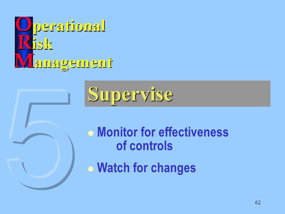 61 1. Identify Hazards 2. Assess Hazards 3. Make Risk Decisions 4. Implement Controls 5. Supervise