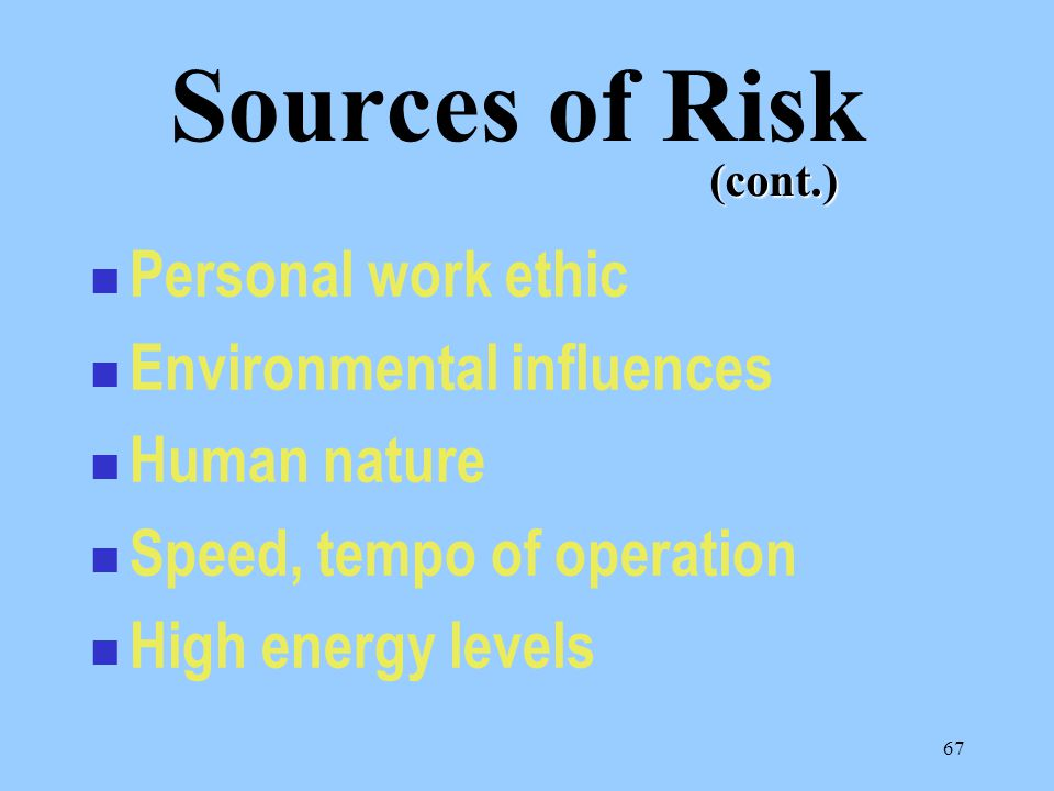 """66 Resource constraints New technology Complex evolutions Stress Feeling of """"Invincibility"""" Sources of Risk"""