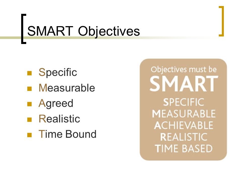 SMART Objectives Specific Measurable Agreed Realistic Time Bound