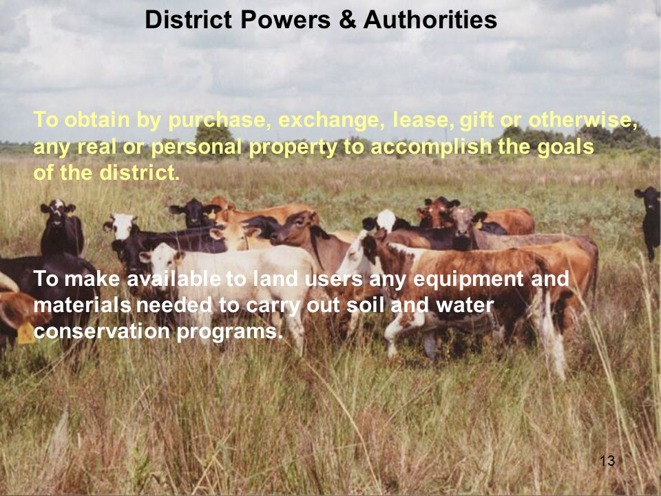13 District Powers & Authorities To obtain by purchase, exchange, lease, gift or otherwise, any real or personal property to accomplish the goals of t