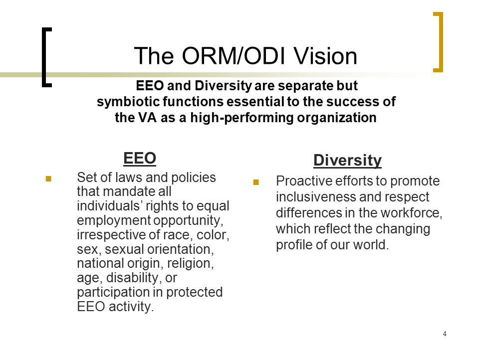 4 The ORM/ODI Vision EEO and Diversity are separate but symbiotic functions essential to the success of the VA as a high-performing organization EEO S