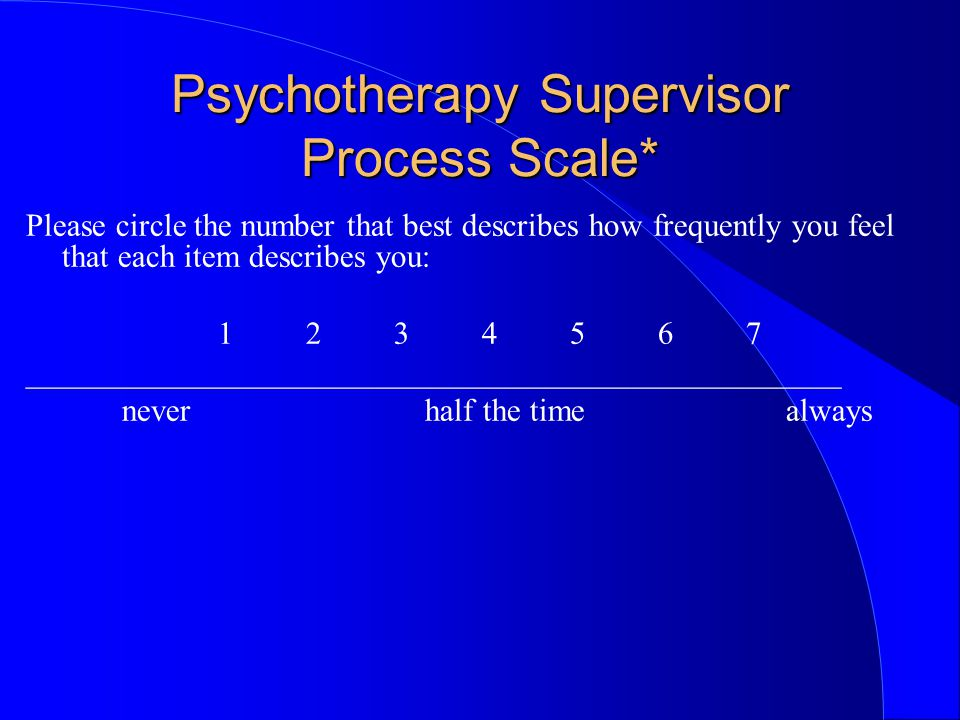 Psychotherapy Supervisor Process Scale* Please circle the number that best describes how frequently you feel that each item describes you: 1 2 3 4 5 6 7 ___________________________________________________ never half the time always