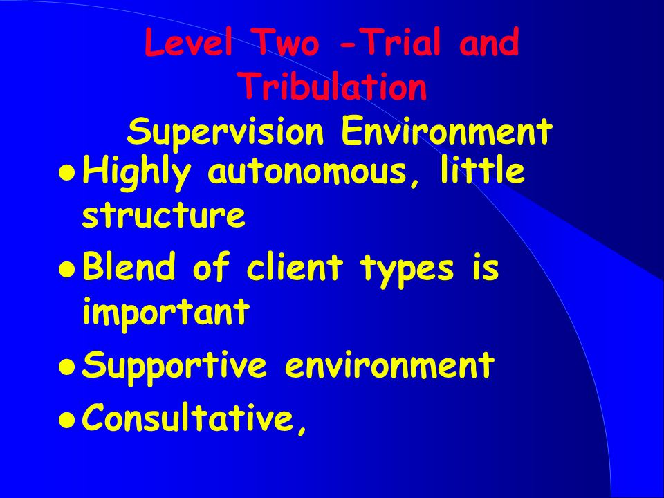 Level Two -Trial and Tribulation Supervision Environment l Highly autonomous, little structure l Blend of client types is important l Supportive environment l Consultative,