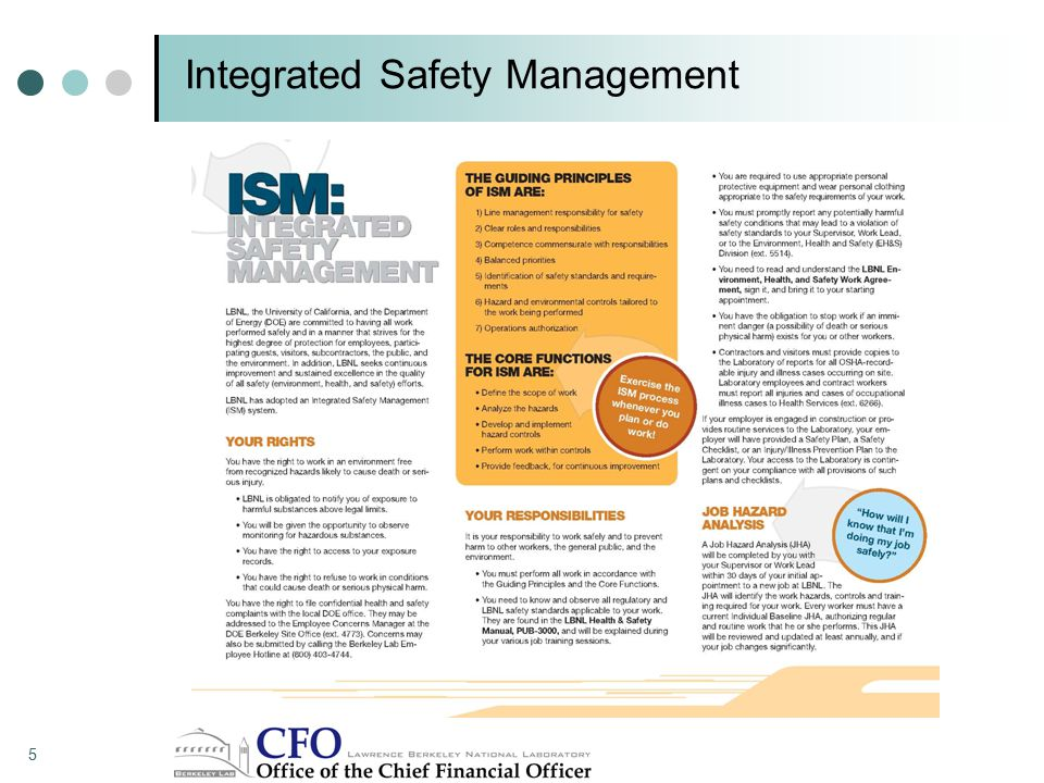 Integrated Safety Management 5