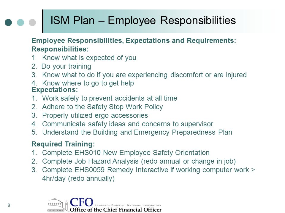 ISM Plan – Employee Responsibilities Employee Responsibilities, Expectations and Requirements: Responsibilities: 1Know what is expected of you 2.