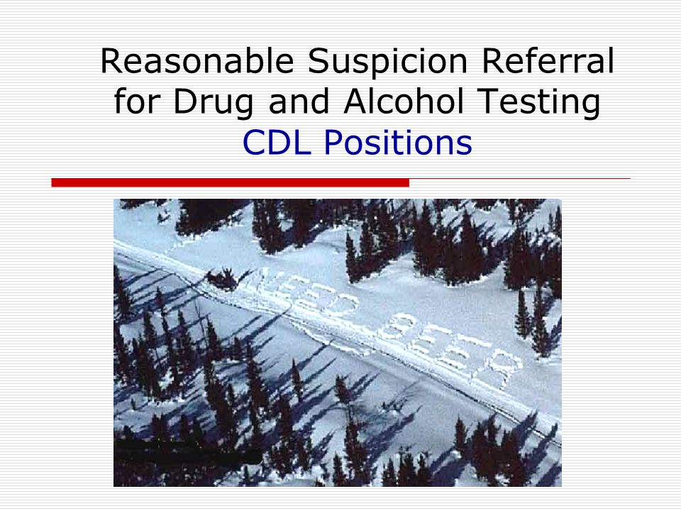 Reasonable Suspicion Referral for Drug and Alcohol Testing CDL Positions