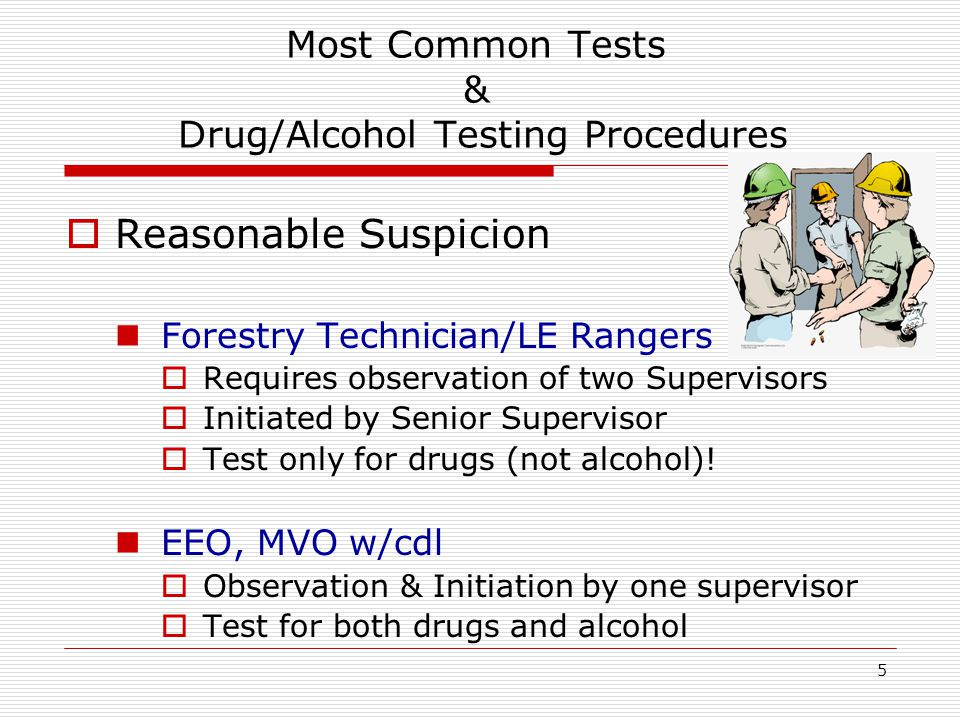 5 Most Common Tests & Drug/Alcohol Testing Procedures  Reasonable Suspicion Forestry Technician/LE Rangers  Requires observation of two Supervisors  Initiated by Senior Supervisor  Test only for drugs (not alcohol).