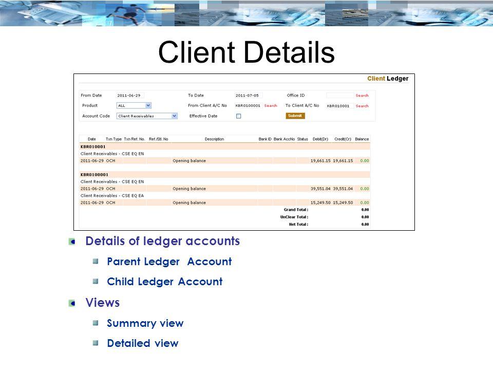 Client Details Details of ledger accounts Parent Ledger Account Child Ledger Account Views Summary view Detailed view