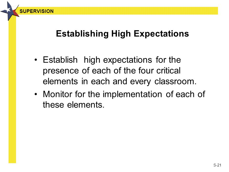 S-21 Establishing High Expectations Establish high expectations for the presence of each of the four critical elements in each and every classroom.