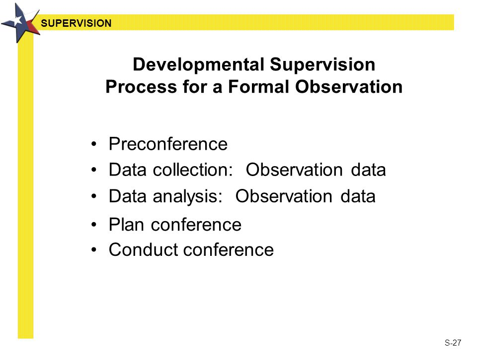 S-27 Developmental Supervision Process for a Formal Observation Preconference Data collection: Observation data Data analysis: Observation data Plan conference Conduct conference SUPERVISION