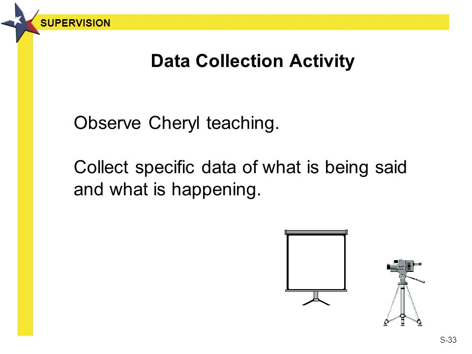 S-33 Data Collection Activity Observe Cheryl teaching. Collect specific data of what is being said and what is happening. SUPERVISION