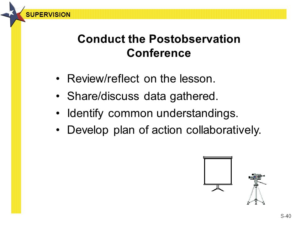 S-40 Conduct the Postobservation Conference Review/reflect on the lesson. Share/discuss data gathered. Identify common understandings. Develop plan of