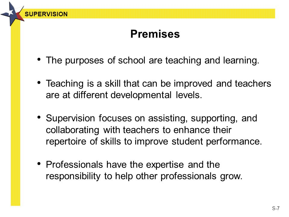S-7 Premises The purposes of school are teaching and learning.