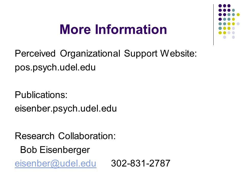 More Information Perceived Organizational Support Website: pos.psych.udel.edu Publications: eisenber.psych.udel.edu Research Collaboration: Bob Eisenberger eisenber@udel.edueisenber@udel.edu 302-831-2787