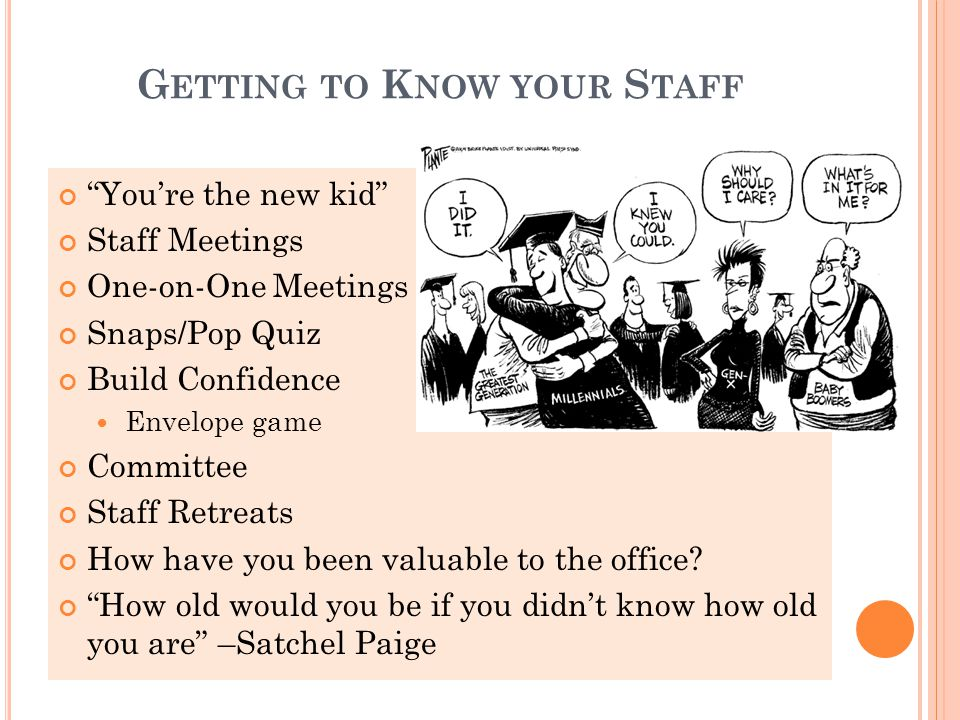 G ETTING TO K NOW YOUR S TAFF You're the new kid Staff Meetings One-on-One Meetings Snaps/Pop Quiz Build Confidence Envelope game Committee Staff Retreats How have you been valuable to the office.