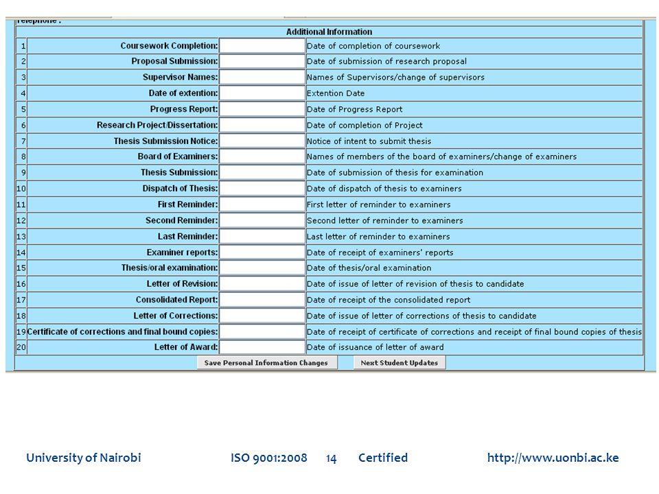 University of Nairobi ISO 9001:2008 14 Certified http://www.uonbi.ac.ke