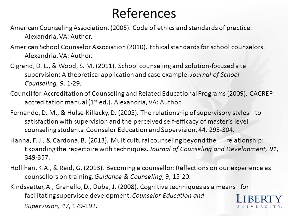 References American Counseling Association. (2005).