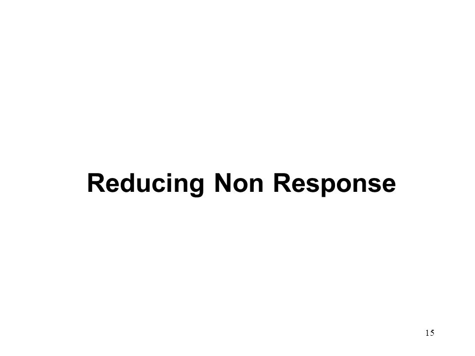 15 Reducing Non Response