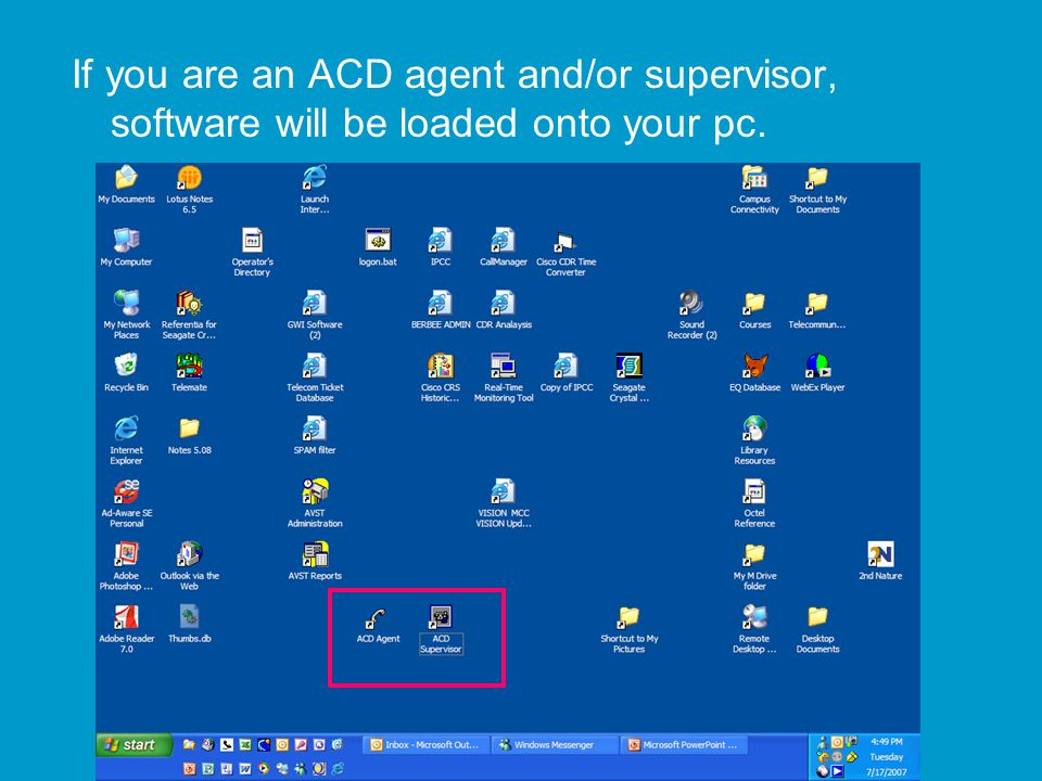 If you are an ACD agent and/or supervisor, software will be loaded onto your pc.