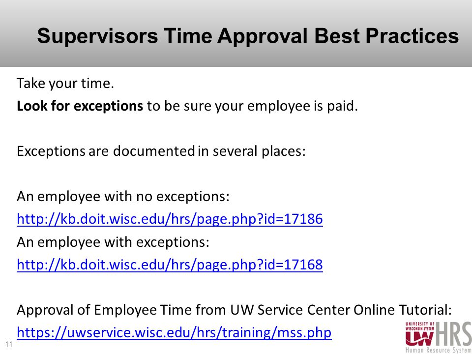 Supervisors Time Approval Best Practices Take your time.