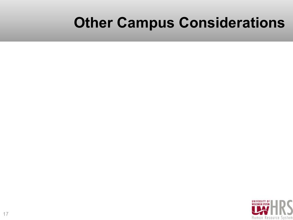 Other Campus Considerations 17
