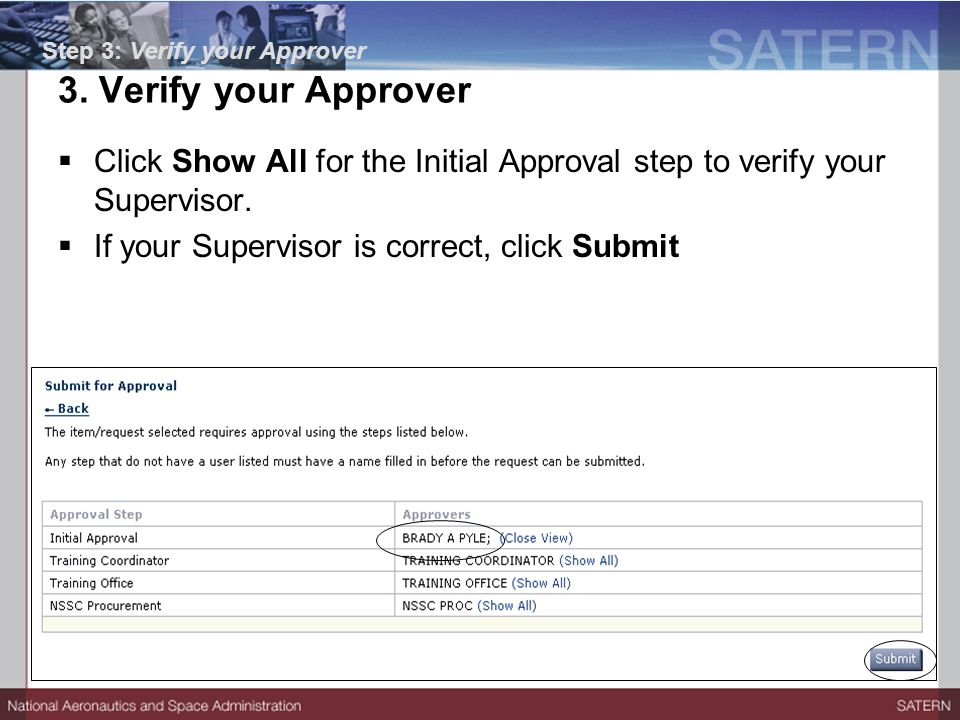  Click Show All for the Initial Approval step to verify your Supervisor.