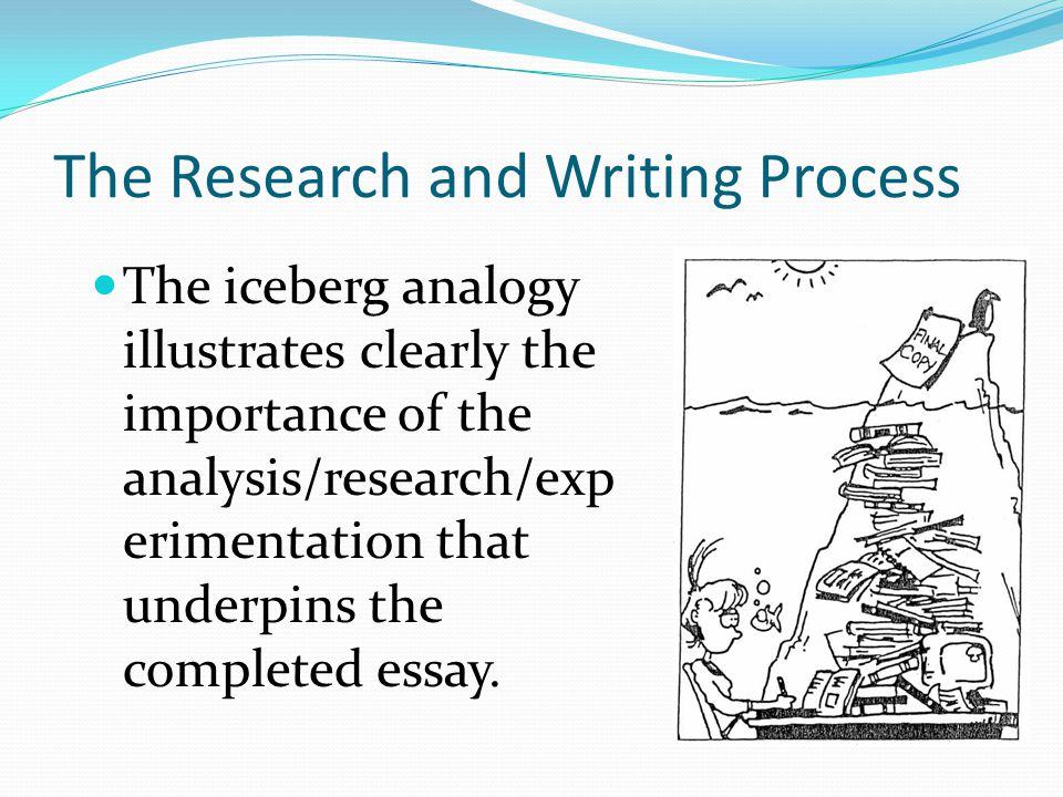 The Research and Writing Process The iceberg analogy illustrates clearly the importance of the analysis/research/exp erimentation that underpins the completed essay.
