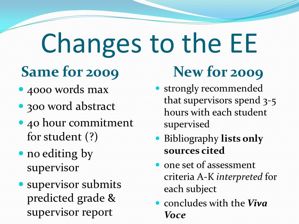 Viva Voce (optional) The viva voce is a short interview (10 and 15 minutes) between the student and the supervisor, and is a recommended conclusion to the extended essay process.