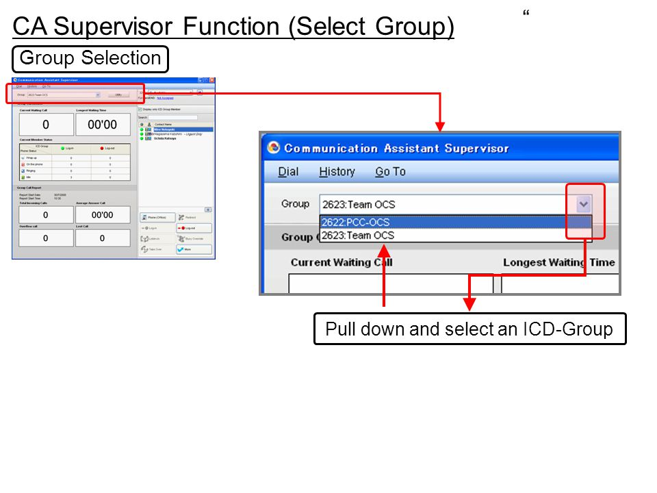 CA Supervisor Function (Select Group) Pull down and select an ICD-Group Group Selection