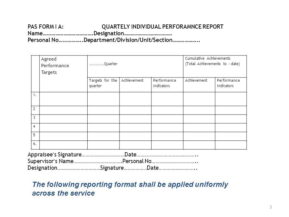 Agreed Performance Targets ……………Quarter Cumulative Achievements (Total Achievements to – date) Targets for the quarter Achievement Performance Indicators Achievement Performance Indicators 1.