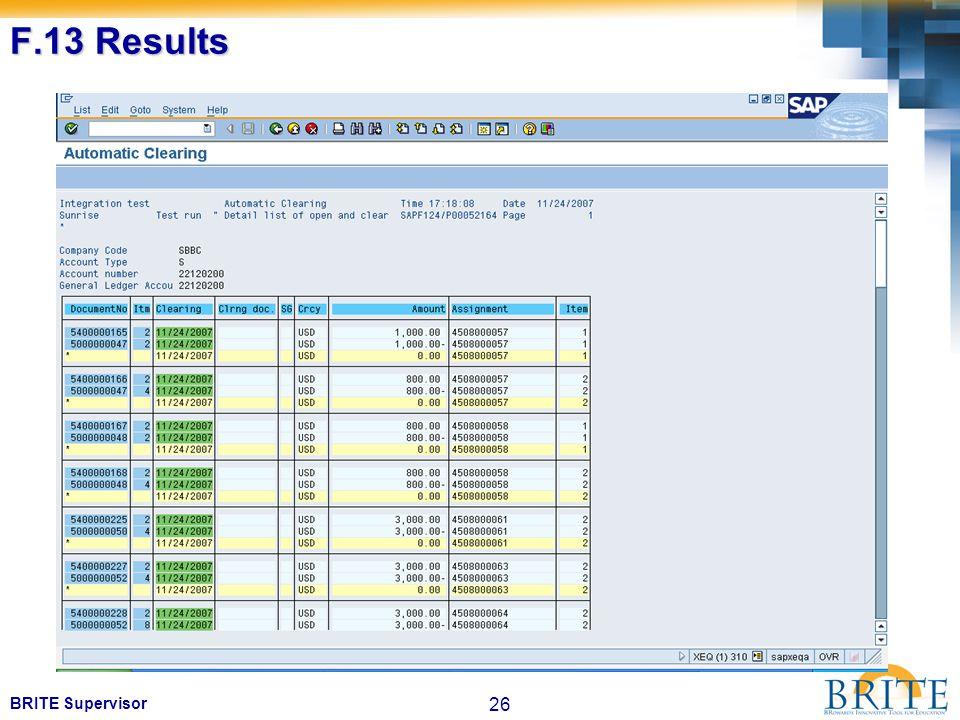 26 BRITE Supervisor F.13 Results