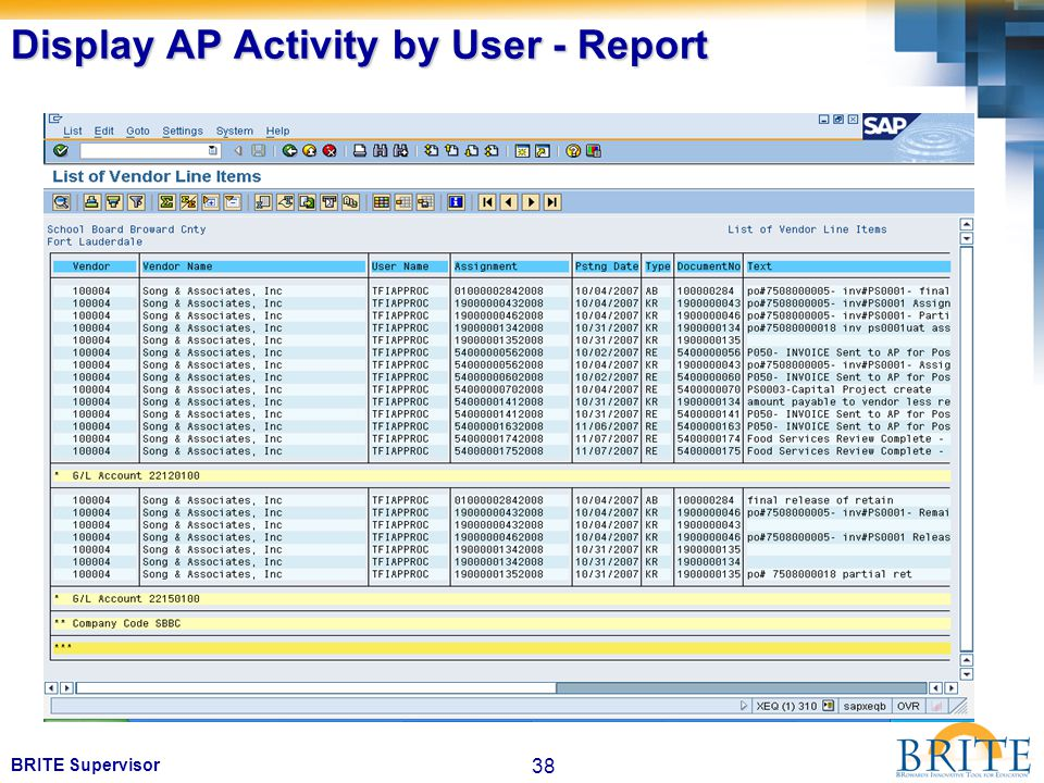 38 BRITE Supervisor Display AP Activity by User - Report