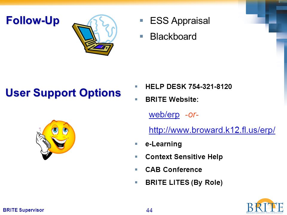44 BRITE Supervisor  HELP DESK 754-321-8120  BRITE Website: web/erp -or- http://www.broward.k12.fl.us/erp/  e-Learning  Context Sensitive Help  CAB Conference  BRITE LITES (By Role) User Support Options  ESS Appraisal  Blackboard Follow-Up