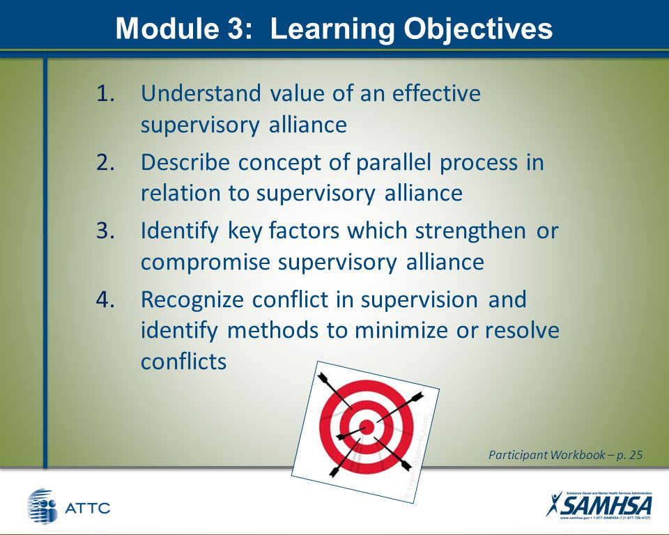 Module 3: Learning Objectives 1.Understand value of an effective supervisory alliance 2.Describe concept of parallel process in relation to supervisory alliance 3.Identify key factors which strengthen or compromise supervisory alliance 4.Recognize conflict in supervision and identify methods to minimize or resolve conflicts Participant Workbook – p.