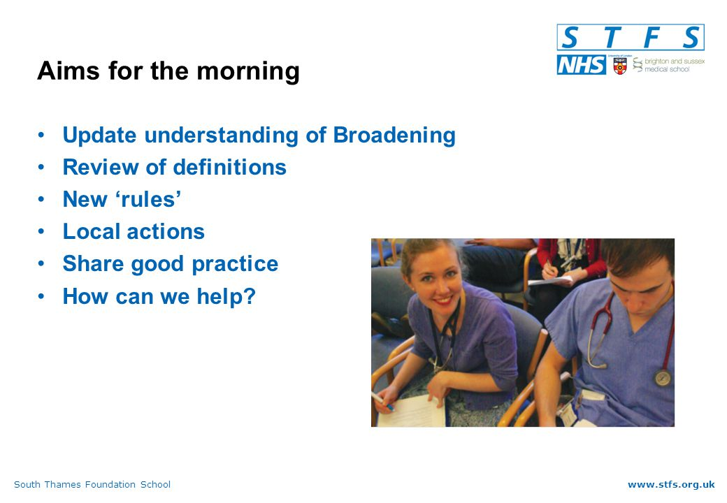 South Thames Foundation Schoolwww.stfs.org.uk Categorisation of specialties (6) Renal Medicine (Nephrology)Medical Potentially if site and/or supervisor in community Respiratory MedicineMedical Potentially if site and/or supervisor in community RheumatologyOther Potentially if site and/or supervisor in community Sport and Exercise MedicineOther Potentially if site and/or supervisor in community Stroke MedicineMedical Potentially if site and/or supervisor in community Trauma and Orthopaedic Surgery Surgery unless orthogeriatric model Possible if part of MSK team with community supervisor Tropical MedicineMedical Only if site/supervisor in community UrologySurgery unless supervised by physician Only if site/supervisor in community