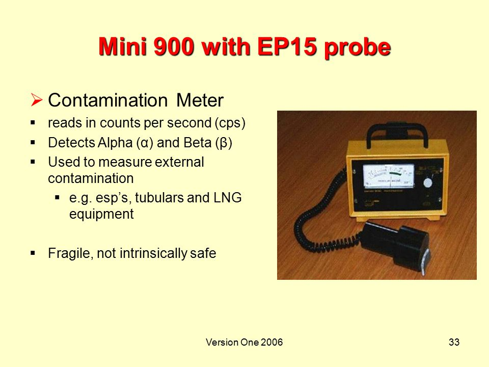 Version One 200633 Mini 900 with EP15 probe  Contamination Meter  reads in counts per second (cps)  Detects Alpha (α) and Beta (β)  Used to measur