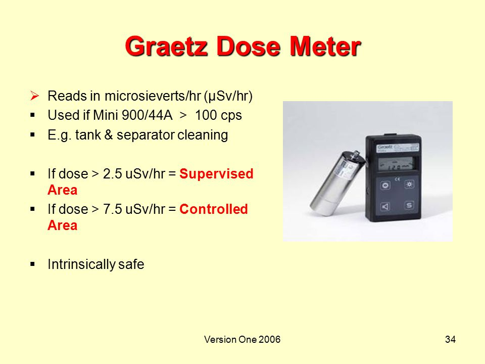 Version One 200634 Graetz Dose Meter  Reads in microsieverts/hr (µSv/hr)  Used if Mini 900/44A > 100 cps  E.g. tank & separator cleaning  If dose