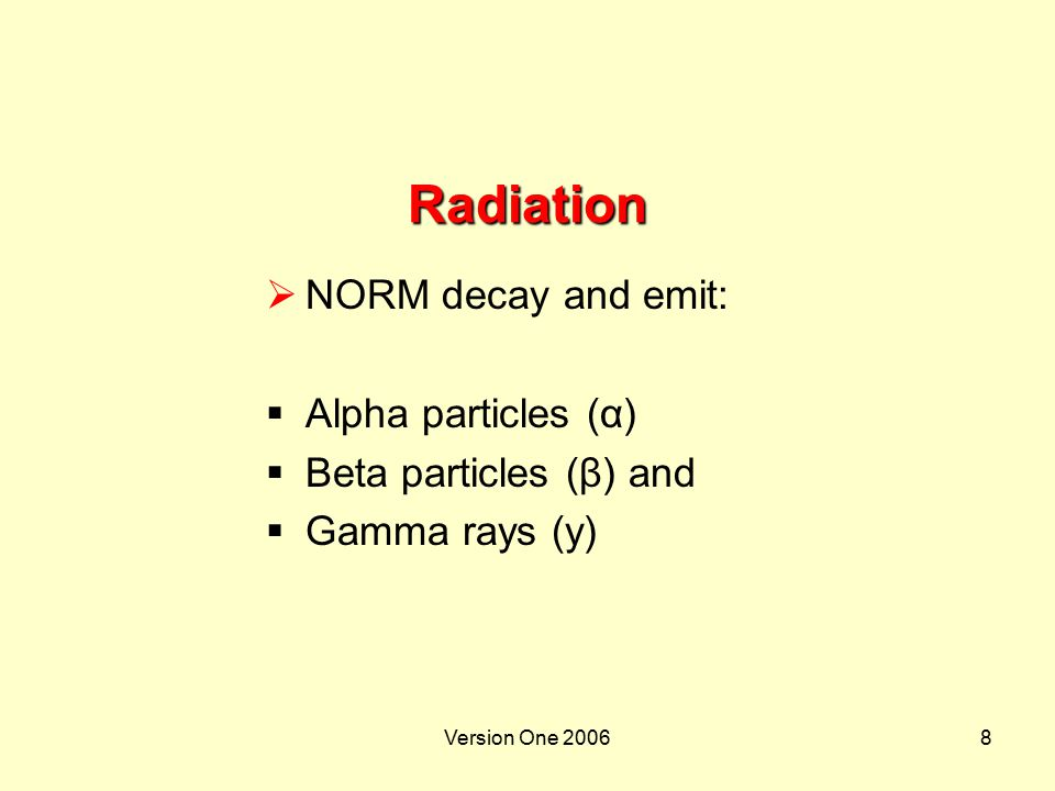 Version One 20068 Radiation  NORM decay and emit:  Alpha particles (α)  Beta particles (β) and  Gamma rays (y)